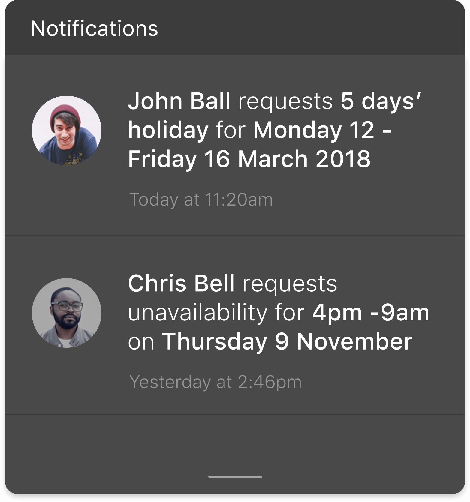 Leave request notifications on rota planning app